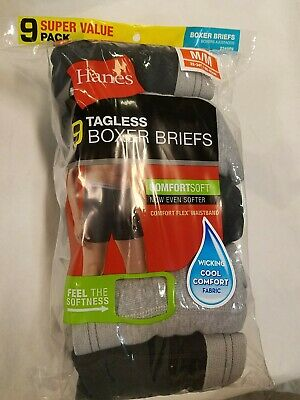 Mens M/ M 32-34 Hanes Boxer Briefs 9 Pack Tagles