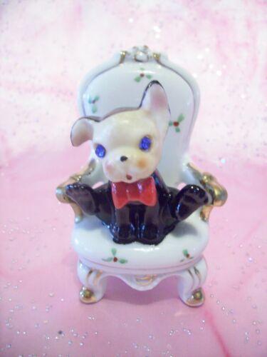 *RARE VTG* Japan Puppy Dog in Chair Rhinestone Blue Eyes Figurine