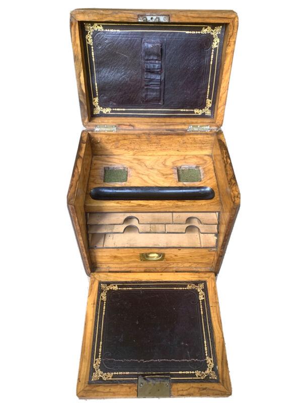 Antique Burled Walnut Portable Writing Desk Stationary Folding Box Rare Design