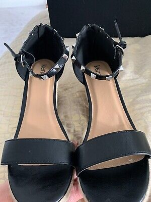 Immaculate Worn Once Inside Kensie Black Studded Espadrille Strappy Wedges EU41