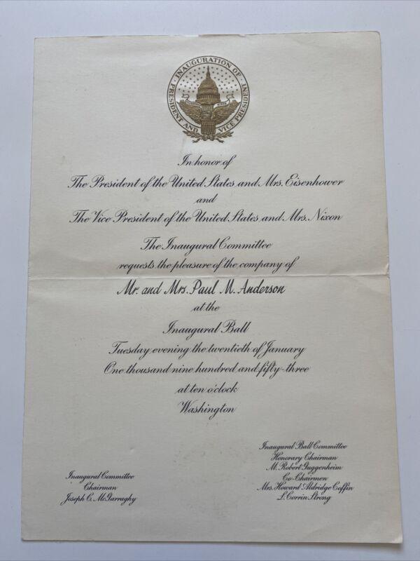 1953 President Dwight Eisenhower Inauguration Inaugural Ball Personal Invitation