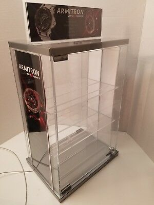 Armitron Watch Acrylic Locking Display Case Spinner W Keys 2 Shelves Jewelry