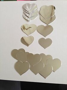 20 SILVER MIRRORED HEART  SHAPED DIE CUTS