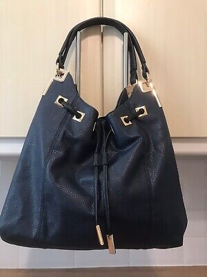 River Island Navy /Gold Drawstring Medium Shoulder Bag