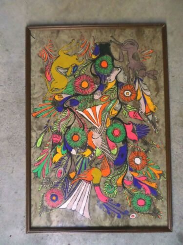 Vintage Mexican Folk Art San Augustin Oapan Framed Papel Amate Bark Painting