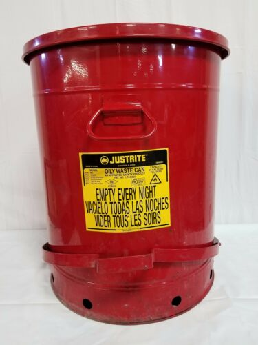 Justrite 21 Gallon Oily Waste Can With Foot Operated Cover Red, 09700