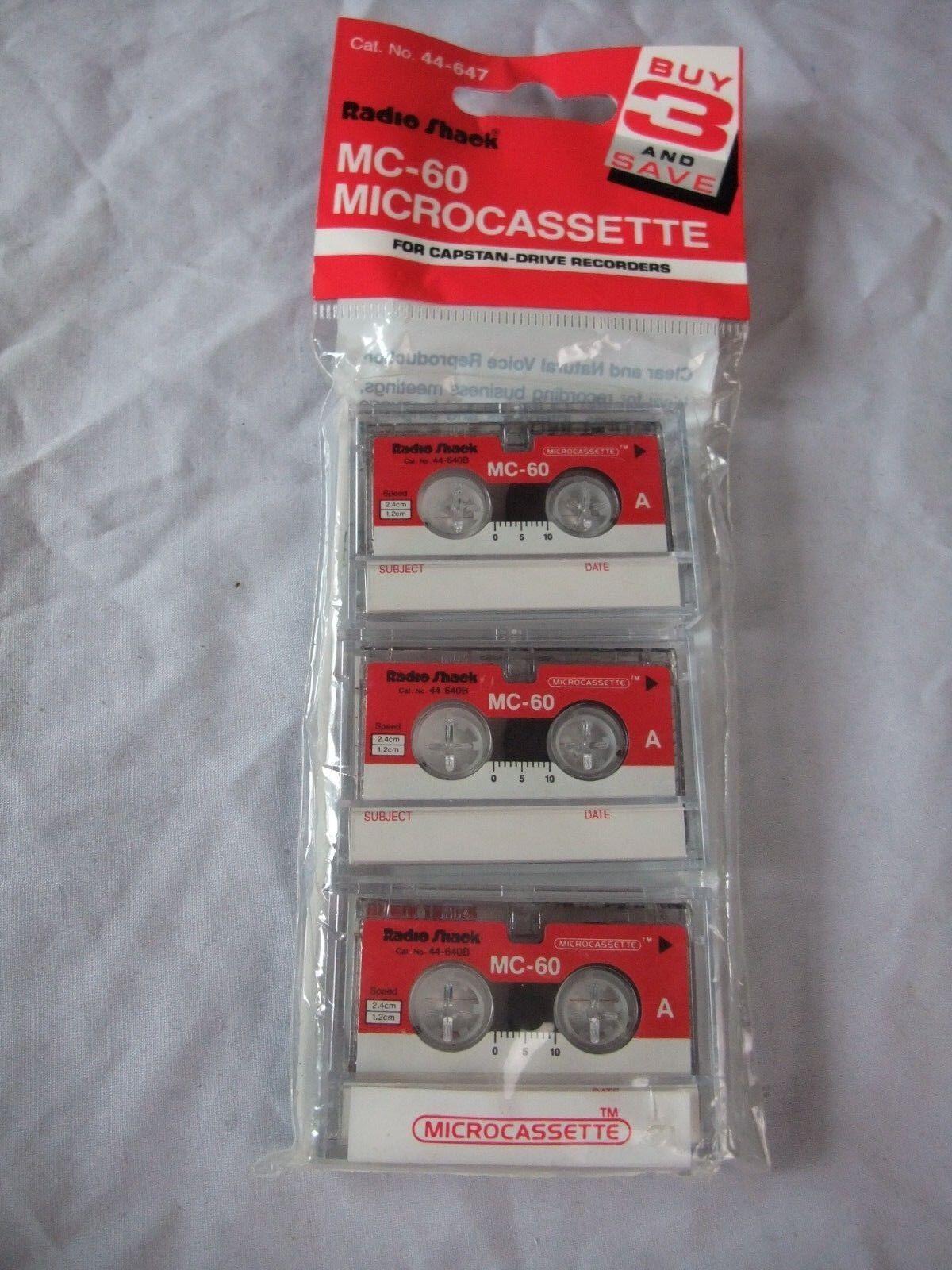 Radio Shack Microcassette Tapes MC-60 Pack of 3--NIP