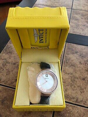 New Invicta Blu 16078 Minimalist Gold Silver Watch NEW in Box Narrow Black Band