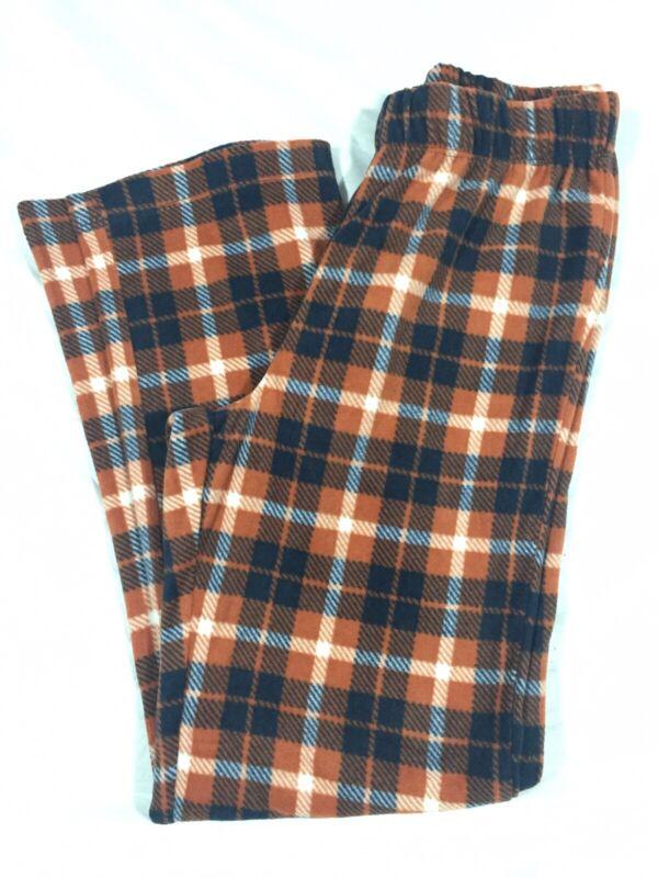 Old Navy Boys Fleece Burnt Orange Plaid Sleep Pajama Pants Sz XL (14-16) NWT