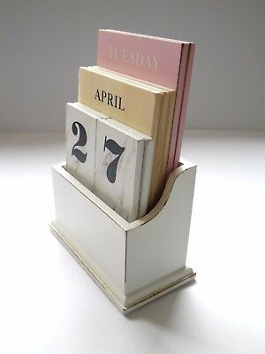 "SHABBY CHIC DESK TOP  ""WOODEN PERPETUAL CALENDAR"" RETRO-ANY YEAR/MONTH/DAY - NEW"