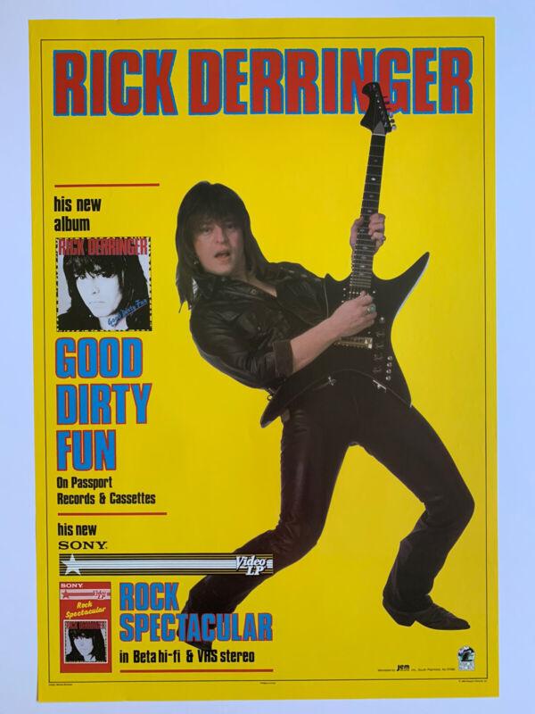 Original 1983 Rick Derringer Good Dirty Fun Promo Poster 19 x 28 McCoys Passport