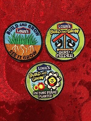 """Lot of 3 - LOWES - """"Build & Learn"""" - Gardening/Bird Feeder - Embroidered Patch"""