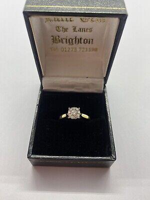 vintage Diamond 9 Stone 18k Ring