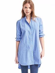 NWT Gap Hi-Lo tailored stripe shirt, Blue/ White Stripe SIZE XL #358459 v4