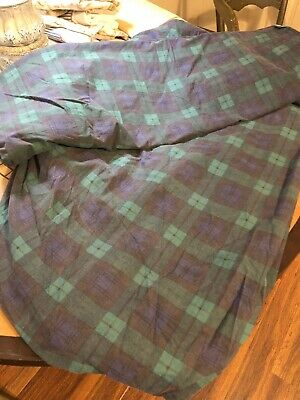 - Ralph Lauren Plaid Twin Sheet Set Blue Green Flat Fitted Blackwatch No Cases
