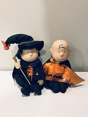 Gemmy Halloween Peanuts Dancing Charlie Brown & Lucy Witch Working - Please Read