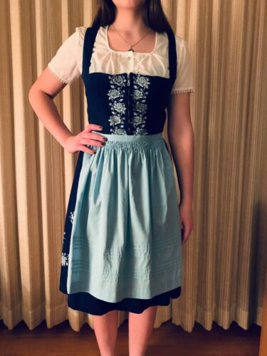 VINTAGE GENUINE BAVARIAN  BLUE DIRNDL WITH LIGHT BLUE APRON