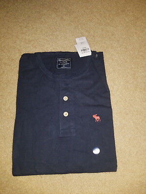 NWT Abercrombie & Fitch Moose Henley Tee Navy Medium for sale  Shipping to Canada