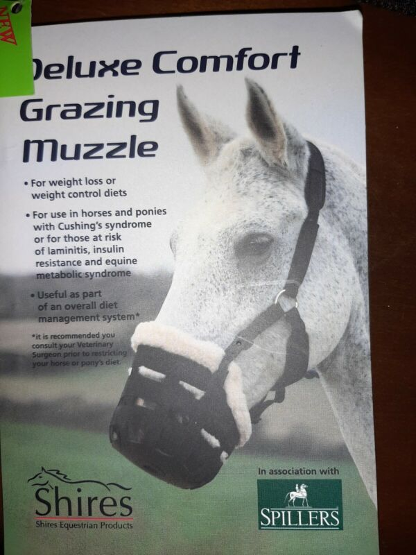 Shires Deluxe Nylon Horse Grass Grazing Muzzle with Comfort features