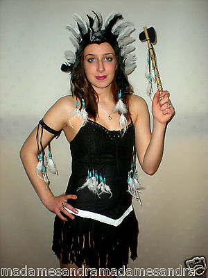Native Indianer Kostüm Schwarz Outfit Pocahontas Kostüm Squaw Halloween