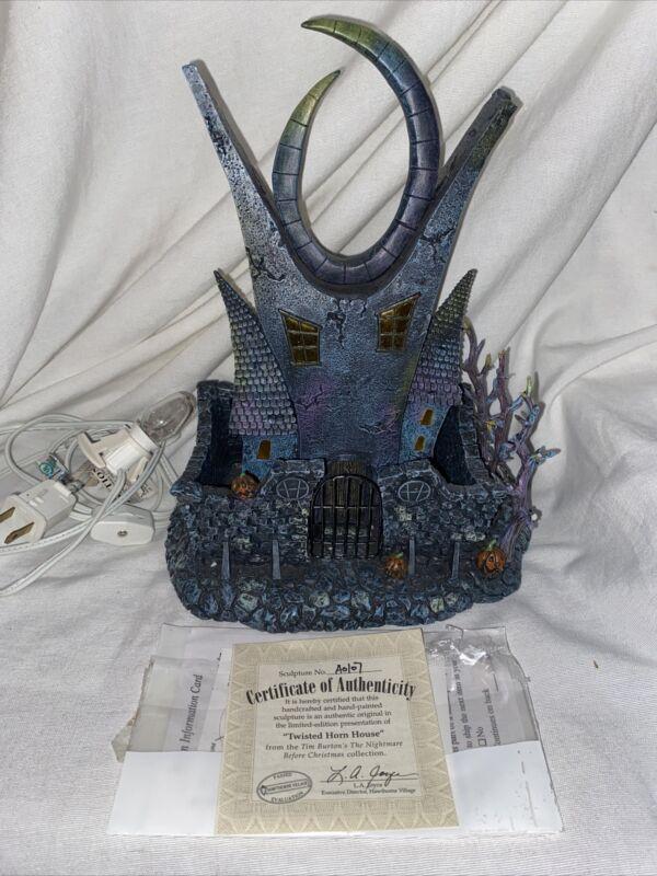 Hawthorne Village Twisted Horn House Disney Nightmare Before Christmas Rare COA