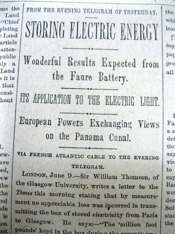 1881 newspaper INVENTION demonstration of The FAURE BATTERY Electricity Storage