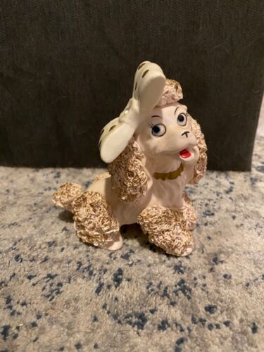Vintage Spaghetti Poodle Figurine With White Bow Pink