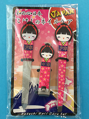 F/S Kokeshi Kimono Nail Care Set Clipper File Tweezer Pink shipped from Kyoto