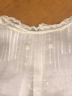 Vintage Sheer Cotton White Christening Dress Delicate Embroidery And Lace Christening Sheer Dress