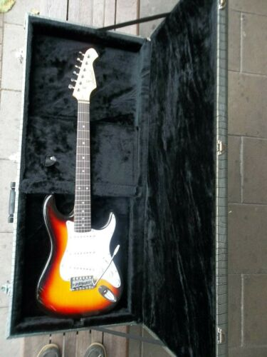 Aria STG mini Strat with fitted Burns Hard case!!! pro-setup so no sore fingers!