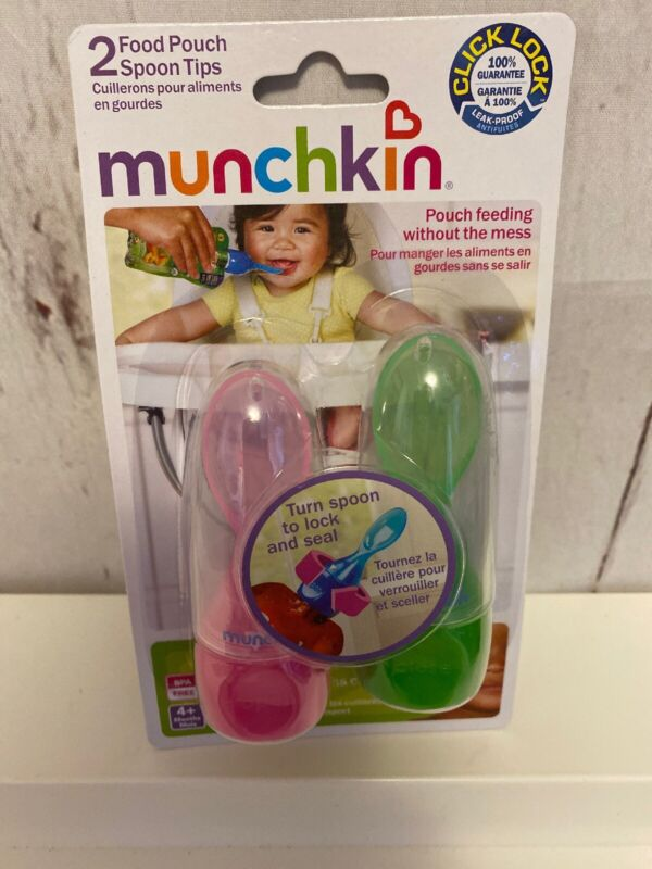 Munchkin Click Lock Food Pouch Spoon Tips - Pink & Green New