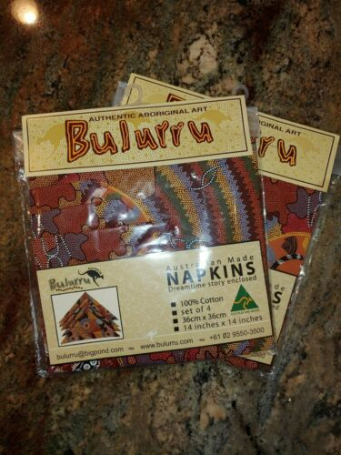 2 sets Bulurru Authentic Aboriginal Art Australian Cotton Napkins set of 4