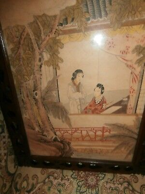 ANTIQUE CHINESE PAINTING ON PAPER PORTRAIT OF TWO WOMEN/S MOTHER DAUGHTER WOOD F