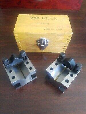 Vee Block Set 8022-ii Hardened Steel W Original Timber Wood Case
