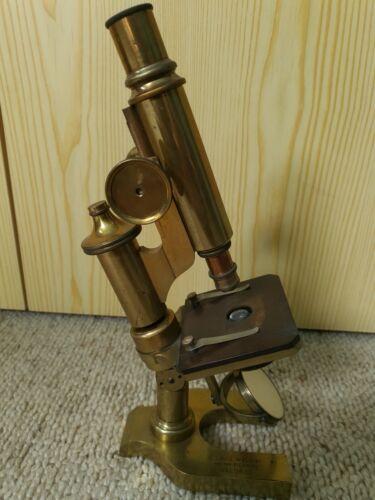 Ernst Leitz Wetzlar Messing Mikroskop Filiale New York Brass Microscope antik