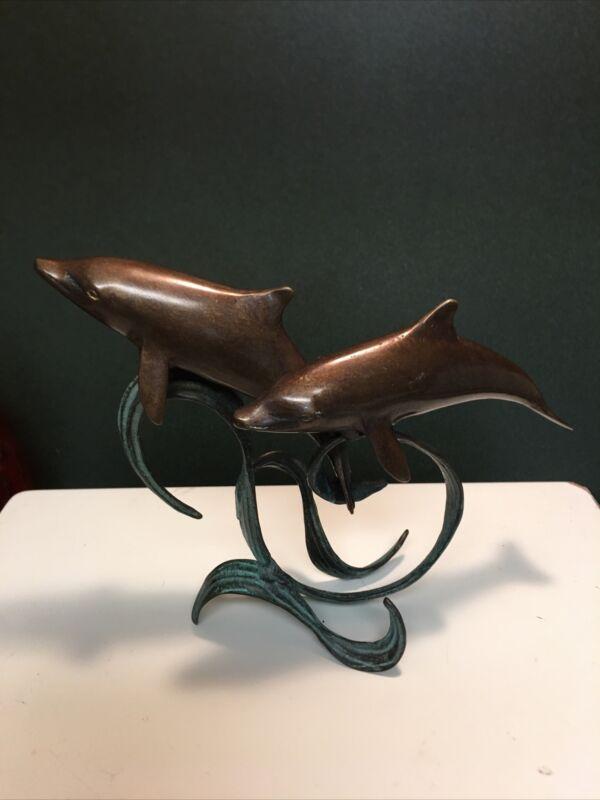 Bronze Dolphin On Waves Figurine Statue