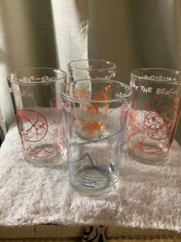 (Set  of 4. Vintage FLINTSTONES Juice Glass Hanna Barbera