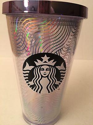 Starbucks 2016 Iridescent Multi Wave Mug Rainbow Cold Cup Tumbler 16oz RARE NEW