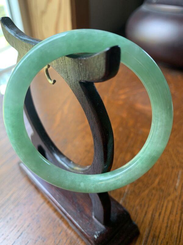 Chinese Natural Green Jadeite Jade Girls Bangle Bracelet