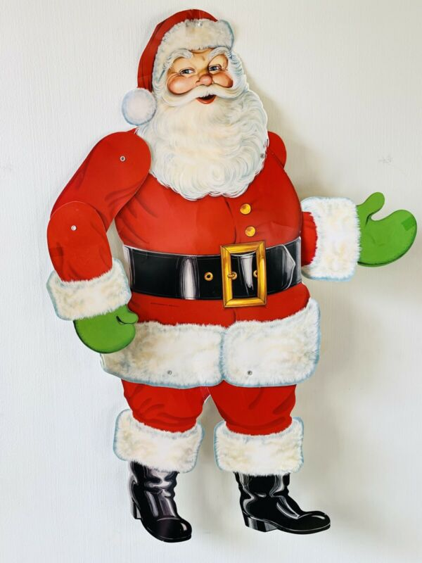 "Vintage 1978 Beistle Santa Claus Die Cut Jointed 29"" Wall Decoration"