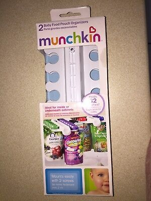 NIP Munchkin Baby Food Pouch Organizers Holder Sliding Cabinet Shelf Rack 2 Pack - Baby Food Pouch Holder
