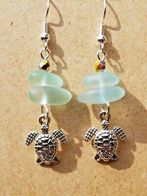 BABY SEA TURTLE Beach Glass Genuine Aqua Blue Sea Glass Zen Silver Earrings