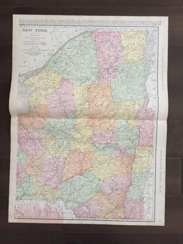 """Large 21"""" X 28"""" COLOR Map of New York(Upstate)-1905"""