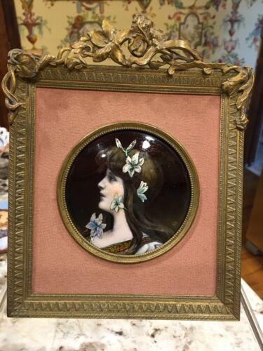 Antique Hand Painted Portrait Signed Art Nouveau Limoges?