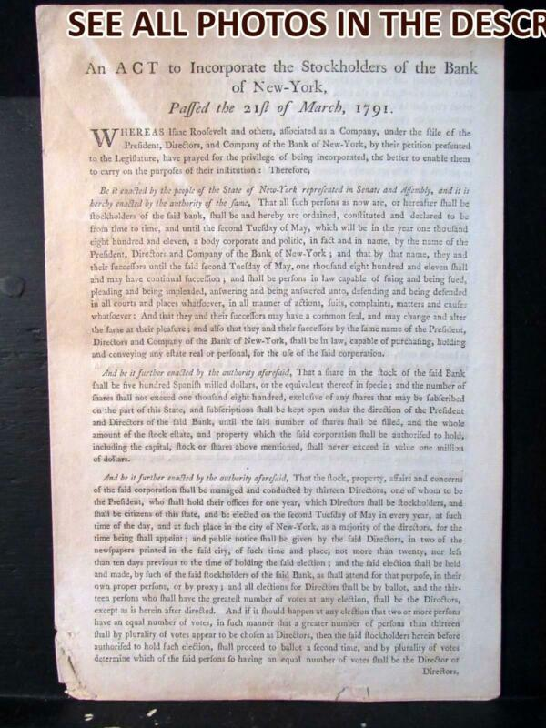 NobleSpirit March 1791 Doc - An Act to Incorporate Stockholders of Bank of NY
