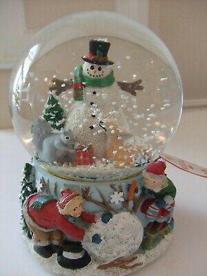 "Water Globe Snow Man w/ Bambi, Squirrel w/ 3 D Base Musical 5.5""T"