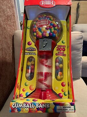 Spiral Gumball Bank Vending Machine Stand Including 200 Large Gym balls NEW