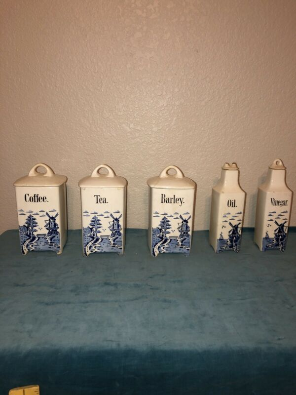 Vintage Large German Canister Set Blue & White Windmill -5 pieces and lids