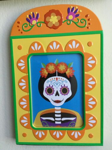 """2x Two HYDE & EEK! Dia de los muertos Day of the dead Photo Frame Yellow 4.5x 7"""""""