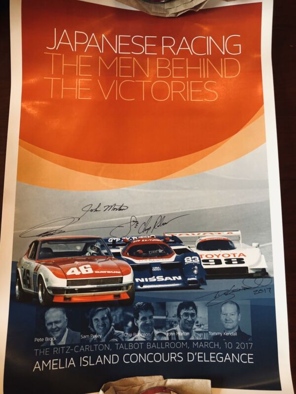 JAPANESE AUTO RACING POSTER THE MEN AND VICTORIES SIGNED